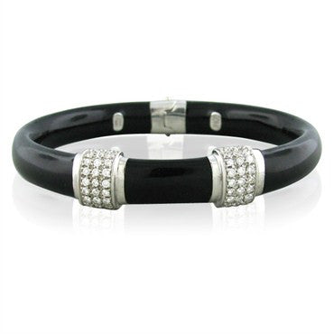 image of Soho 18K White Gold Black Enamel Diamond Bangle Bracelet