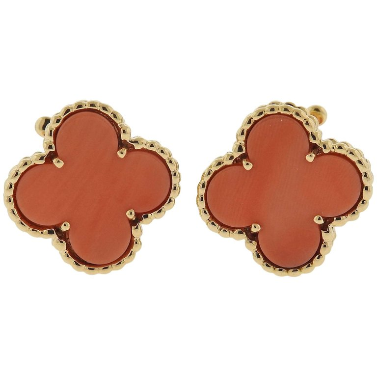 thumbnail image of Van Cleef & Arpels Vintage Alhambra Coral Gold Earrings