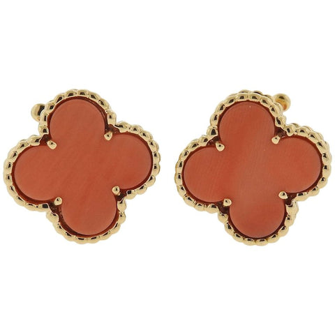 image of Van Cleef & Arpels Vintage Alhambra Coral Gold Earrings