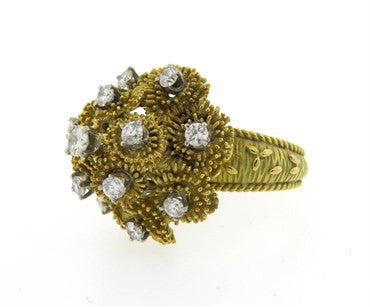 image of 1970s Modern 1.50ctw Diamond 18k Gold Cocktail Ring
