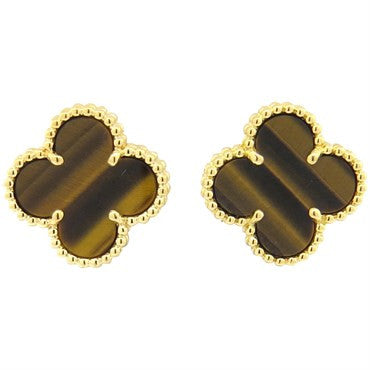 thumbnail image of Van Cleef & Arpels Vintage Alhambra Tiger's Eye Gold Earrings