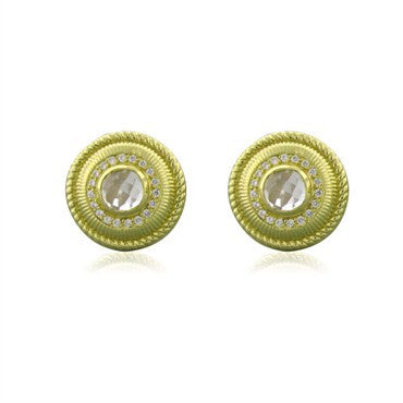 image of Judith Ripka 18k Yellow Gold Crystal Diamond Cufflinks