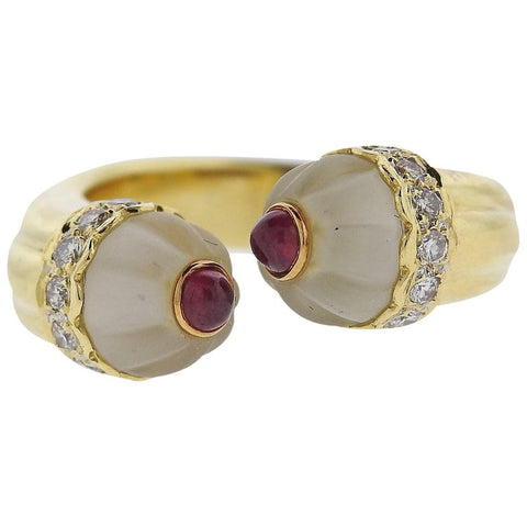image of Diamond Ruby Frosted Crystal Gold Bypass Ring