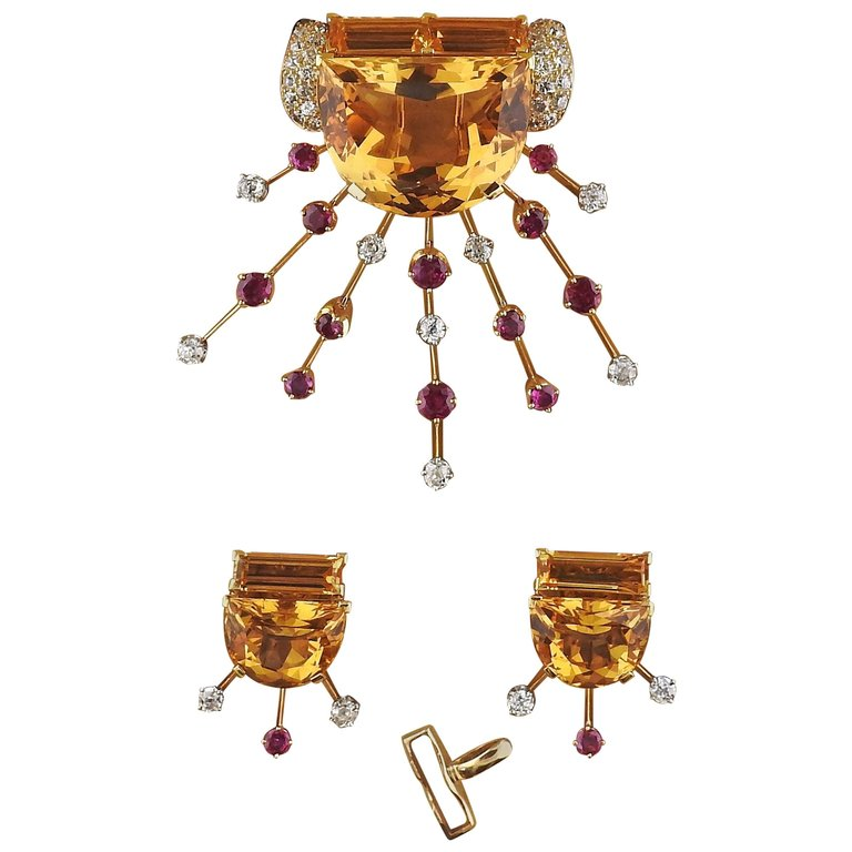 thumbnail image of Retro Citrine Diamond Ruby Gold Earrings Brooch Suite