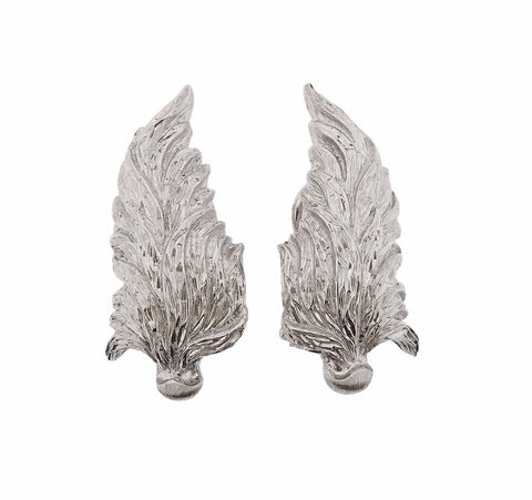 image of Buccellati Leaf Motif White Gold Earrings