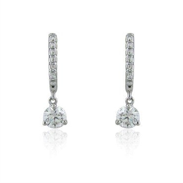 image of Hearts On Fire Three Prong Diamond Leverback 0.88ct Diamond Earrings