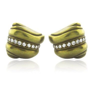 thumbnail image of Estate 18k Gold Kieselstein Cord Diamond Earrings