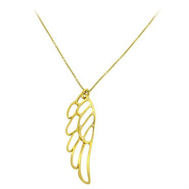 thumbnail image of Linda Lee Johnson Diamond 22k Gold Wing of Wire Pendant Necklace