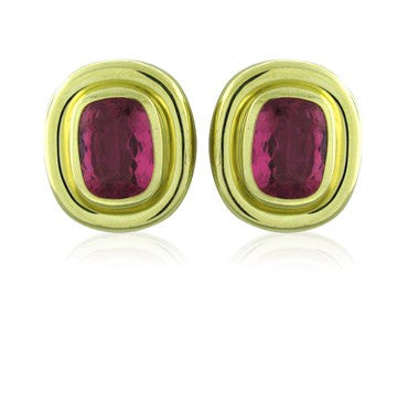 image of Vintage Tiffany & Co Paloma Picasso 18k Gold Pink Tourmaline Earrings