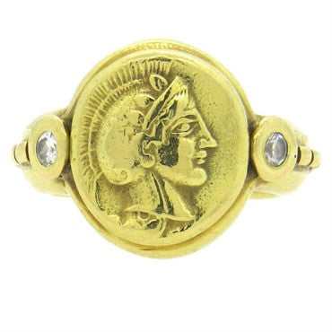 thumbnail image of Laurence DeVries Diamond 18k Gold Roman Mythology Ring