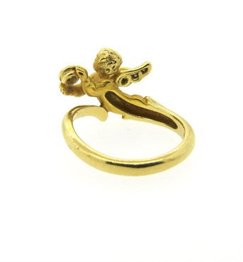 image of Carrera Y Carrera 18k Gold Diamond Angelitos Cherub Ring