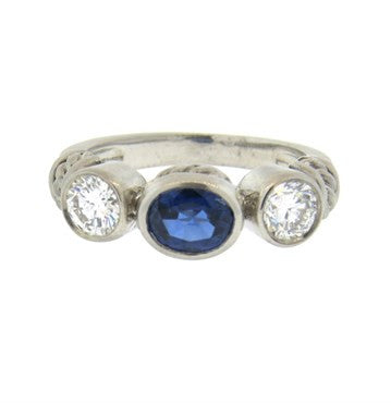 image of Judith Ripka Sapphire Diamond 18k Gold Ring