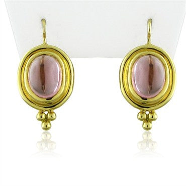 thumbnail image of New Temple St Clair Classic 18K Gold Pink Tourmaline Cabochon Earrings