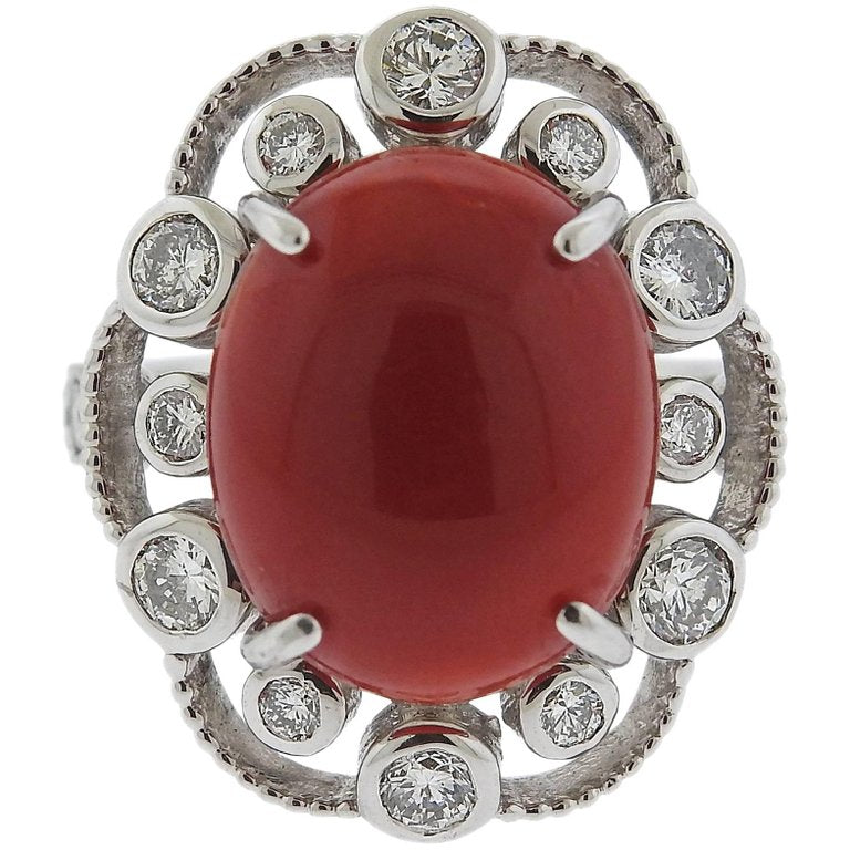 thumbnail image of Red Coral Cabochon Diamond Platinum Ring