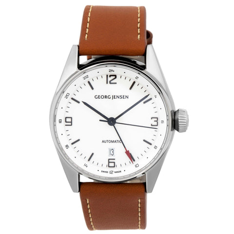 image of Georg Jensen Delta Classic GMT Stainless Steel Leather Strap Watch