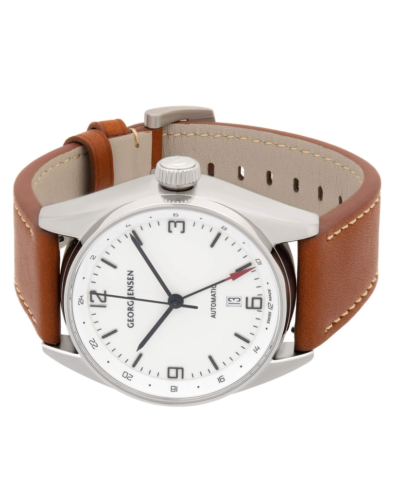 thumbnail image of Georg Jensen Delta Classic GMT Stainless Steel Leather Strap Watch