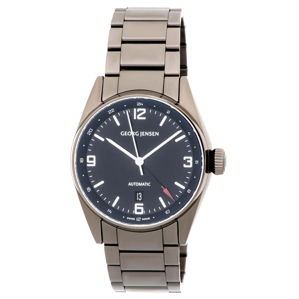 thumbnail image of Georg Jensen Delta Classic GMT Gunmetal PVD Stainless Steel Watch