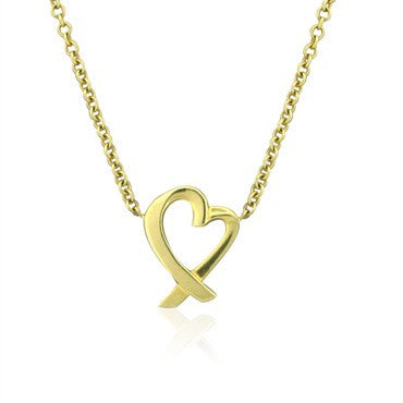 image of Tiffany & Co Paloma Picasso 18K Gold Loving Heart Pendant Necklace
