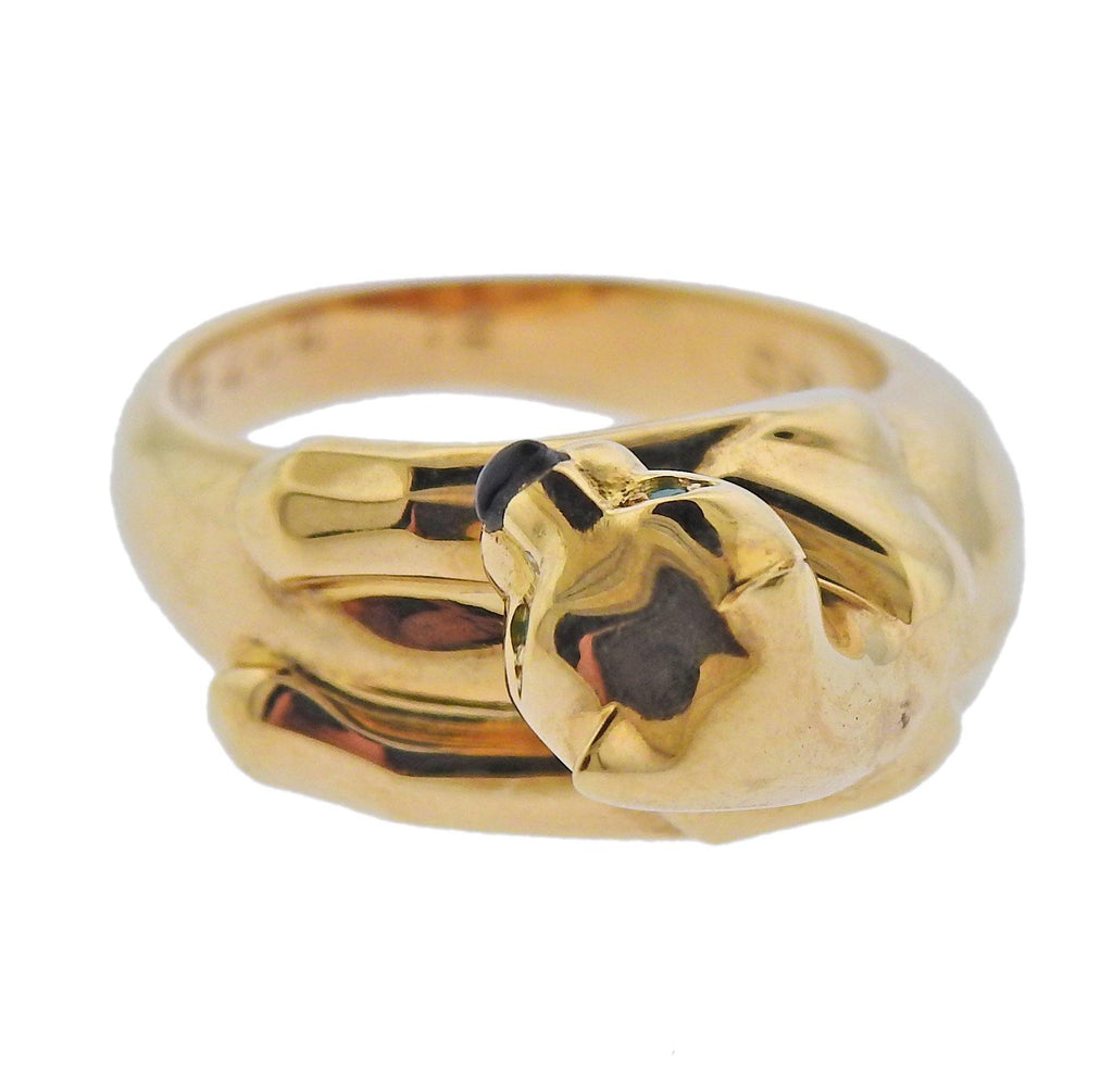 thumbnail image of Cartier Panthere 18k Gold Onyx Emerald Ring