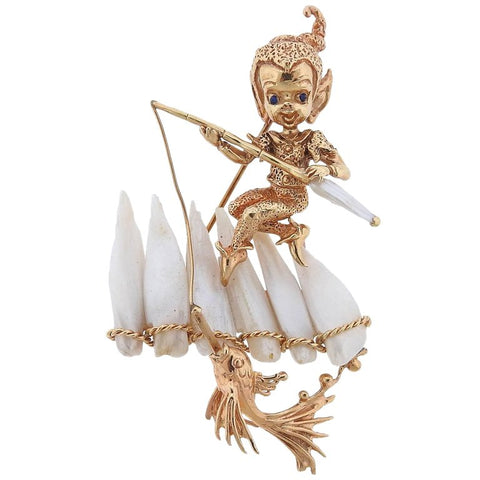 image of Ruser Retro Gold Pearl Sapphire Fishing Cherub Brooch