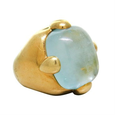 image of Large Pomellato Aquamarine 18k Gold Ring