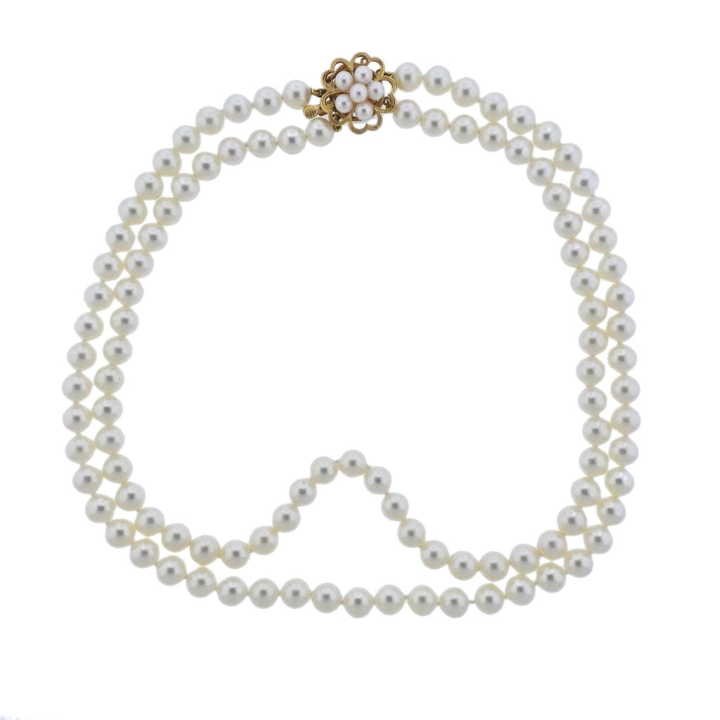 thumbnail image of Mikimoto Pearl Gold Flower Clasp Necklace