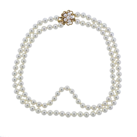image of Mikimoto Pearl Gold Flower Clasp Necklace