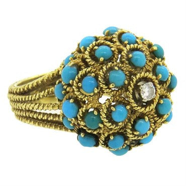 image of 1960s 18k Gold Turquoise Diamond Large Ring