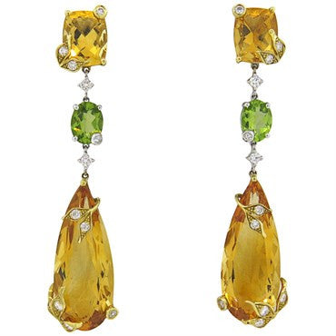 thumbnail image of Elegant Citrine Peridot Diamond 18k Gold Drop Earrings