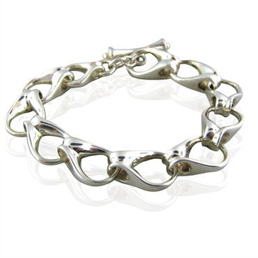 image of Tiffany & Co Sterling Silver Link Toggle Bracelet