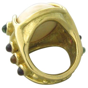 thumbnail image of Large Roberge 18K Gold Multi Color Gemstone Bone Ring