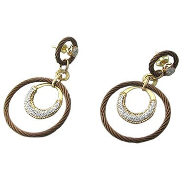 thumbnail image of New Charriol Link Celtique 18K Gold Bronze Steel Diamond Earrings
