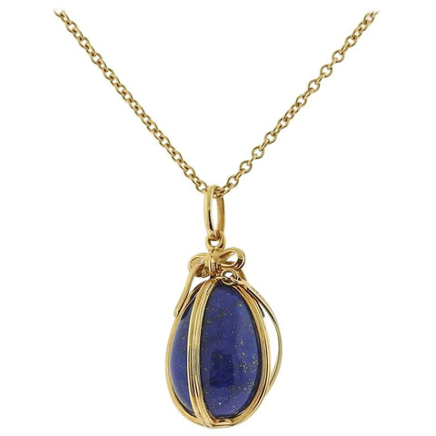 image of Tiffany & Co. Schlumberger Lapis Gold Egg Charm Necklace