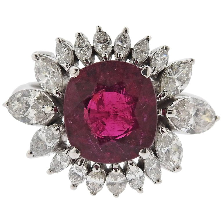 thumbnail image of Pink Tourmaline Diamond Gold Cocktail Ring