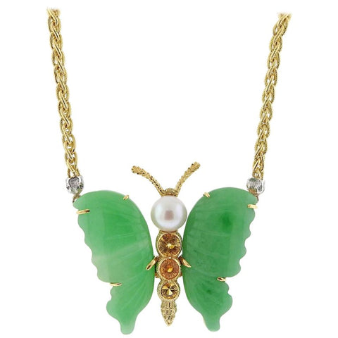 image of Buccellati Jade Pearl Citrine Gold Butterfly Necklace