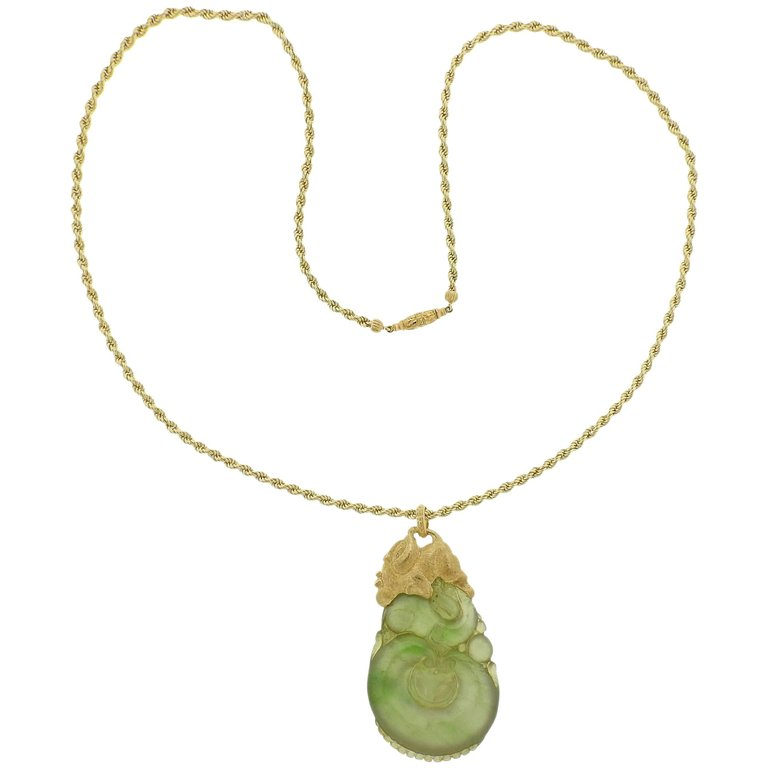 thumbnail image of Buccellati Carved Jade Gold Pendant Necklace