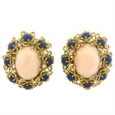 image of 1960s Lapis Coral 18k Gold Earrings