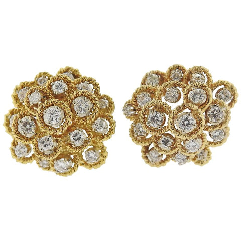 image of 1970s Cartier Diamond Gold Earrings
