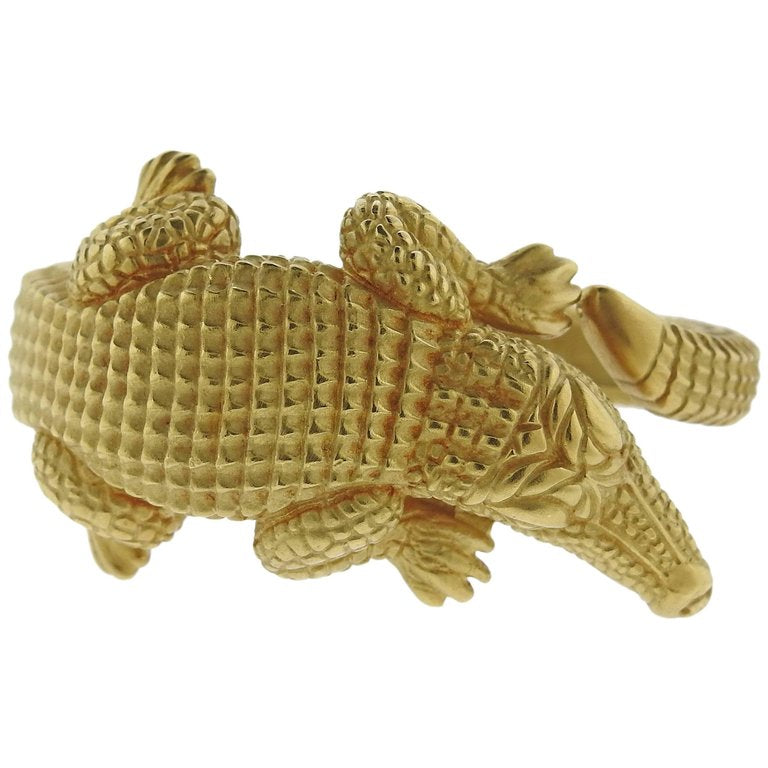 thumbnail image of Kieselstein Cord Alligator Gold Bracelet