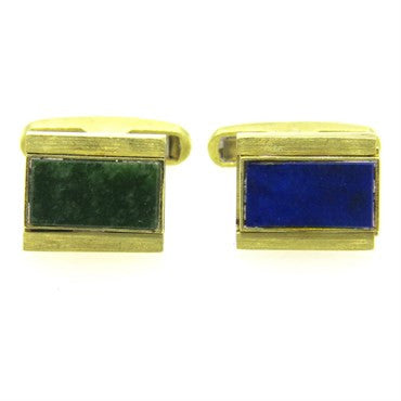 image of Nephrite Lapis Gold Reversible Cufflinks
