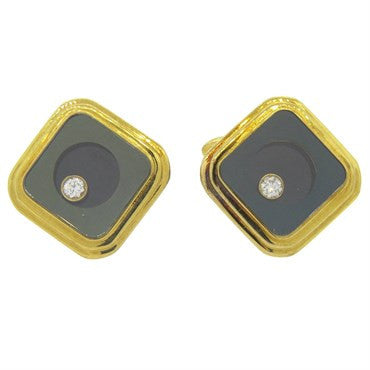 image of Floating Diamond Gold Cufflinks
