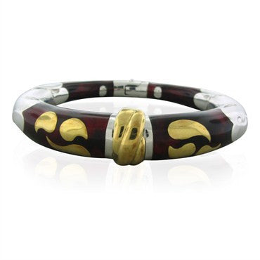 image of Soho 18K Gold Red Enamel Bangle Bracelet