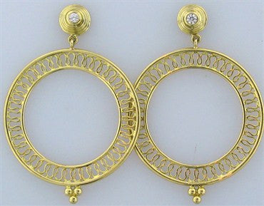 thumbnail image of New Temple St. Clair 18K Gold Round Diamond Earrings