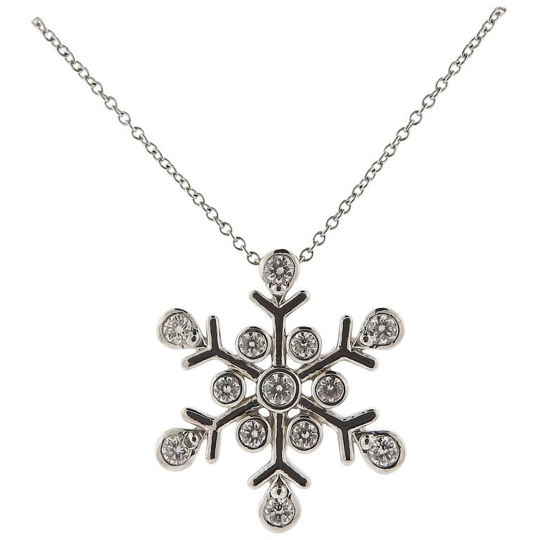 thumbnail image of Tiffany & Co. Diamond Platinum Snowflake Pendant Necklace