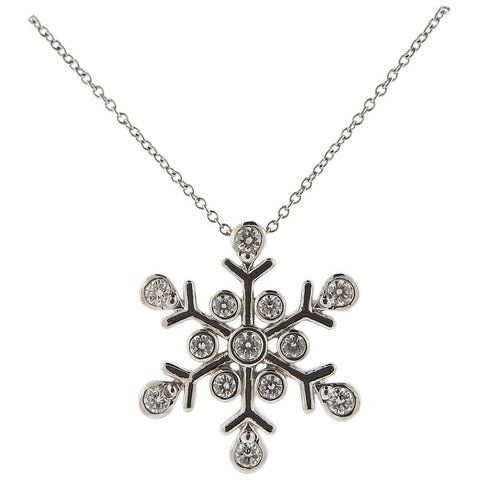 image of Tiffany & Co. Diamond Platinum Snowflake Pendant Necklace