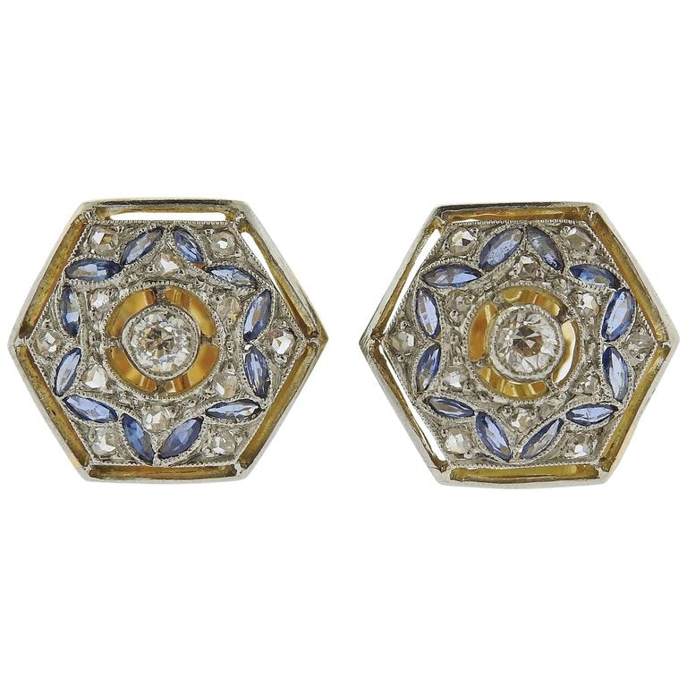 thumbnail image of Art Deco Diamond Sapphire Gold Stud Earrings