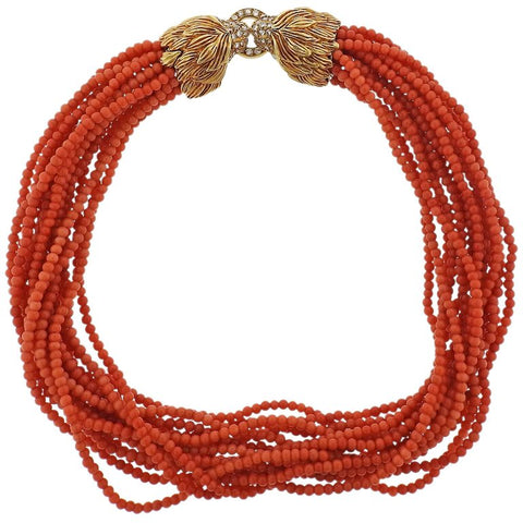 image of Diamond Ruby Lion Head Gold Coral Necklace