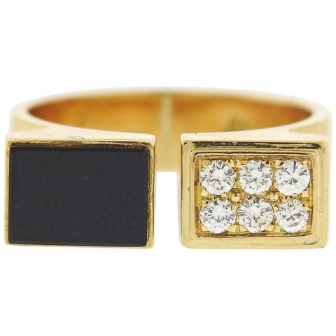 image of 1980s Cartier Diamond Onyx Gold Cuff Ring