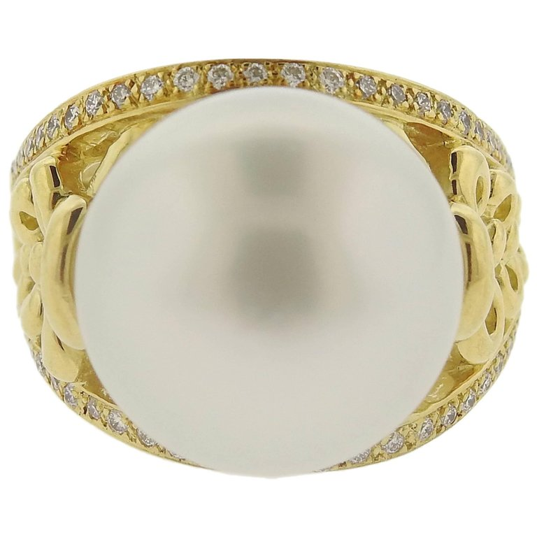 thumbnail image of Adria de Haume South Sea Pearl Diamond Gold Ring