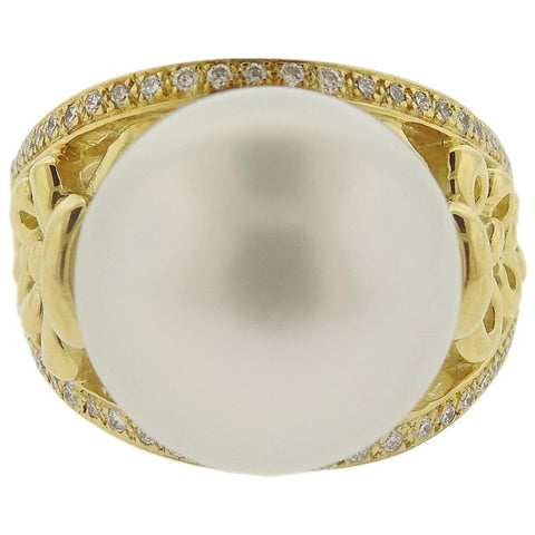 image of Adria de Haume South Sea Pearl Diamond Gold Ring